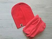 Детский комплект  шапка  +хомут однотонный №2