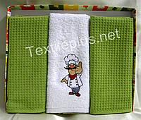Полотенца кухоные вафелька / махра - Gulcan - Kitchen - 3 шт. - 40*60 - 100% хлопок - (kod 1461)