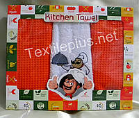 Полотенца кухоные вафелька / махра - Gulcan - Kitchen - 3 шт. - 40*60 - 100% хлопок - (kod 1462)