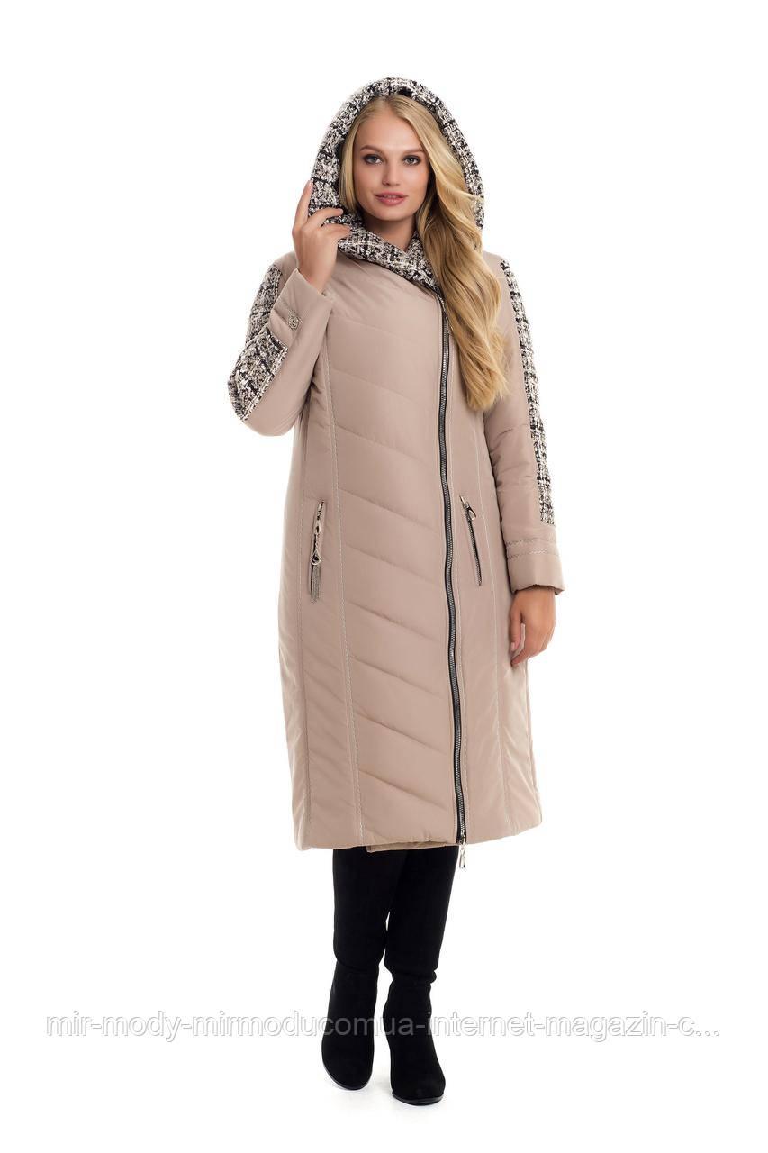 Зимнее двубортное пальто-пуховик на синтепоне BABOCHKA 19 (цвет бежевый) с 50 по 60 размер (vk)