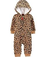 Леопардовый флисовый комбинезон Carter's для девочки