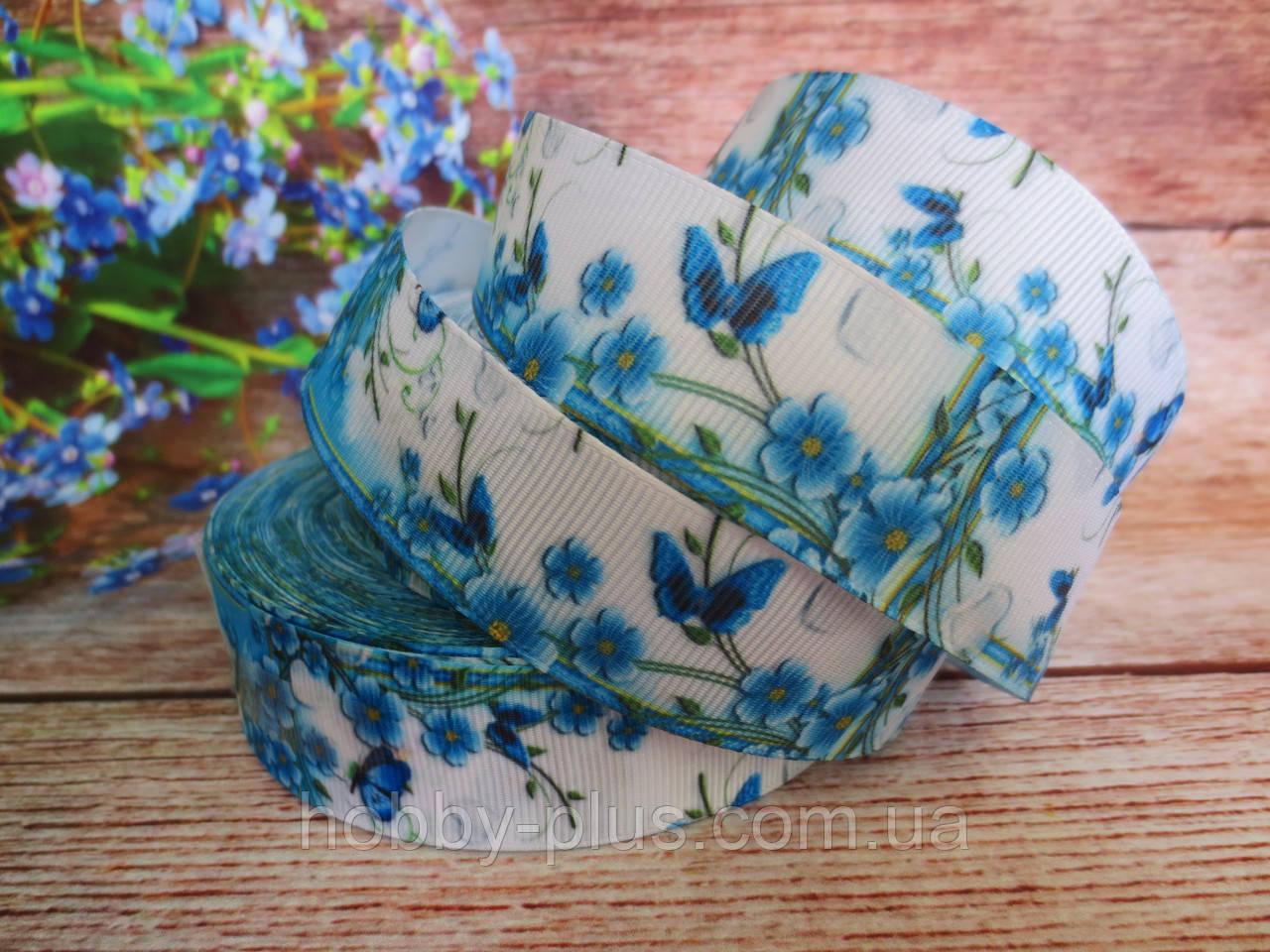 """Лента репсовая """"Голубые цветы на белом фоне"""", 2,5 см."""