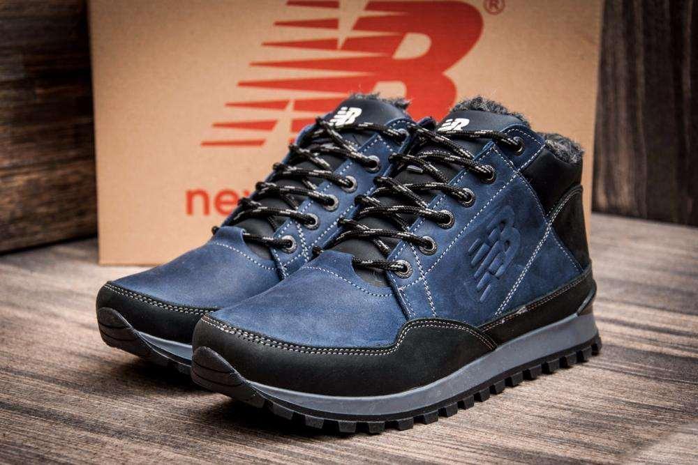 Мужские зимние кожаные кроссовки New Balance Clasic Blue (реплика)