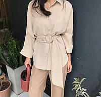 Удлиненная рубашка женская свободного кроя с поясом