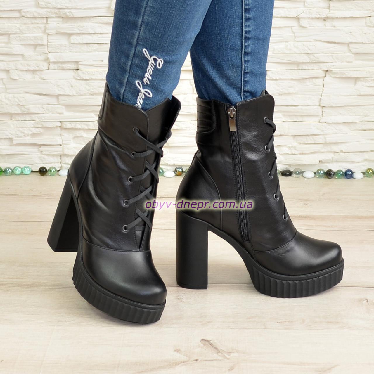 Ботинки зимние кожаные на высоком устойчивом каблуке, цвет черный