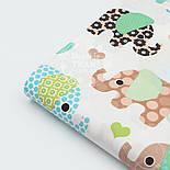Отрез ткани с индийскими слонами, цвет зелёный №299а, фото 2