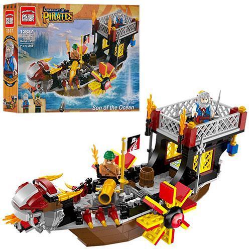 Конструктор Brick 1307 пиратский корабль, фигурки, 345 деталей (Legendary Pirates Сын морей)