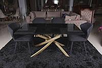 Обеденный стеклянный стол LINCOLN (Линкольн) дымка gold 160/240 от Niсolas (бесплатная доставка)