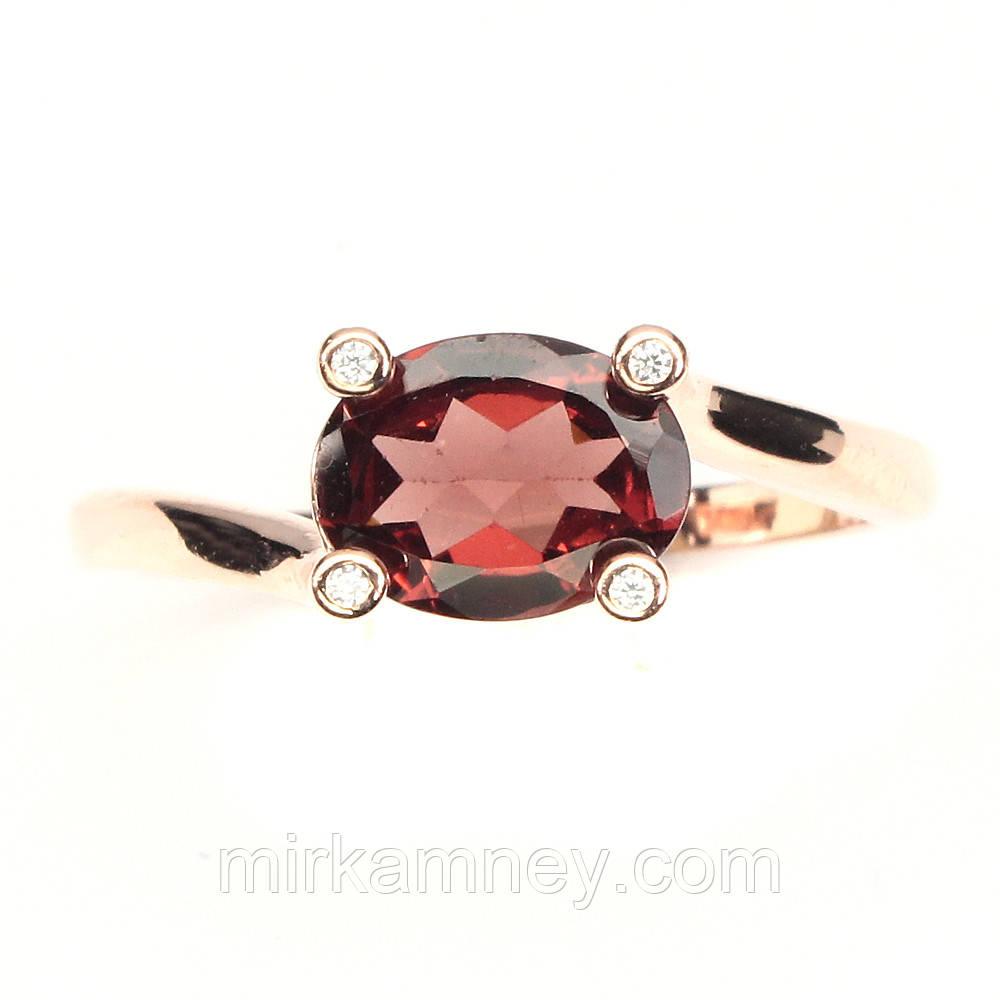 Серебряное кольцо с натуральным камнем Мозамбик гранат в позолоте 14 каратным розовым золотом размер 18