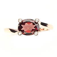 Серебряное кольцо с натуральным камнем Мозамбик гранат в позолоте 14 каратным розовым золотом размер 18, фото 1