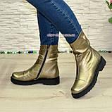 Черевики жіночі демісезонні на товстій підошві з натуральної шкіри бронзового кольору, фото 4