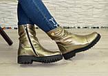 Черевики жіночі демісезонні на товстій підошві з натуральної шкіри бронзового кольору, фото 5