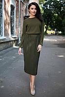 Платье миди Belly цвета хаки с юбкой в рубчик и длинными рукавами