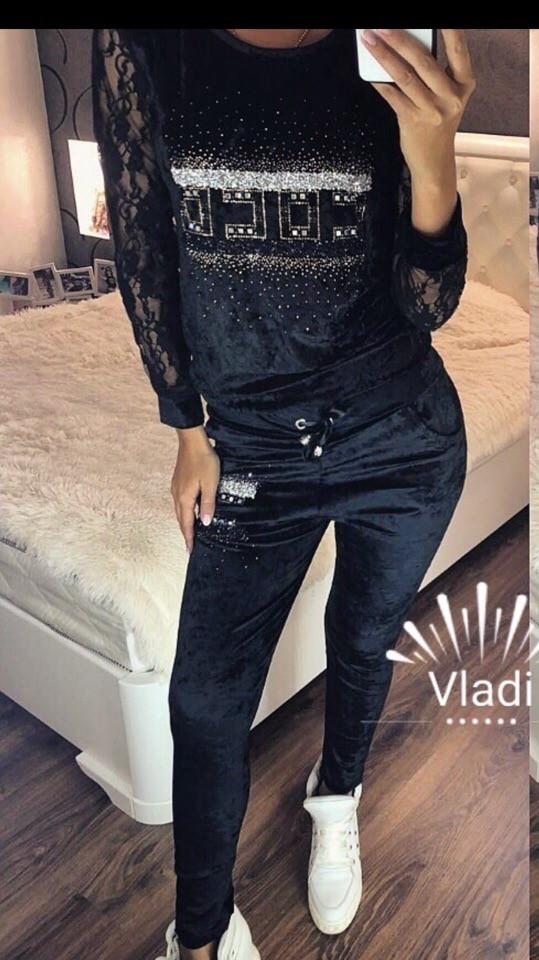 ffdef4343de Женский велюровый костюм с камнями на осень Турция — купить недорого ...