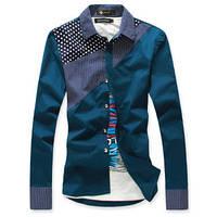 Рубашка с вставками в горошек.  5277