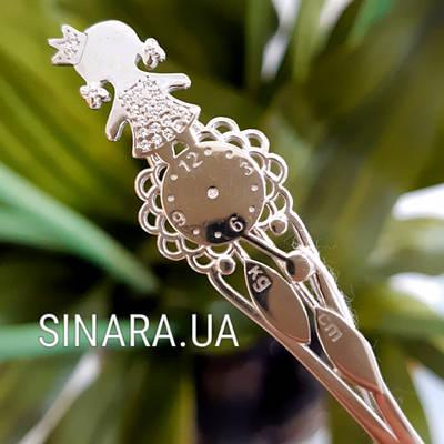 Срібна ложка на хрестини дівчинки Годинник - Срібна ложка Годинник і Дівчинка Принцеса