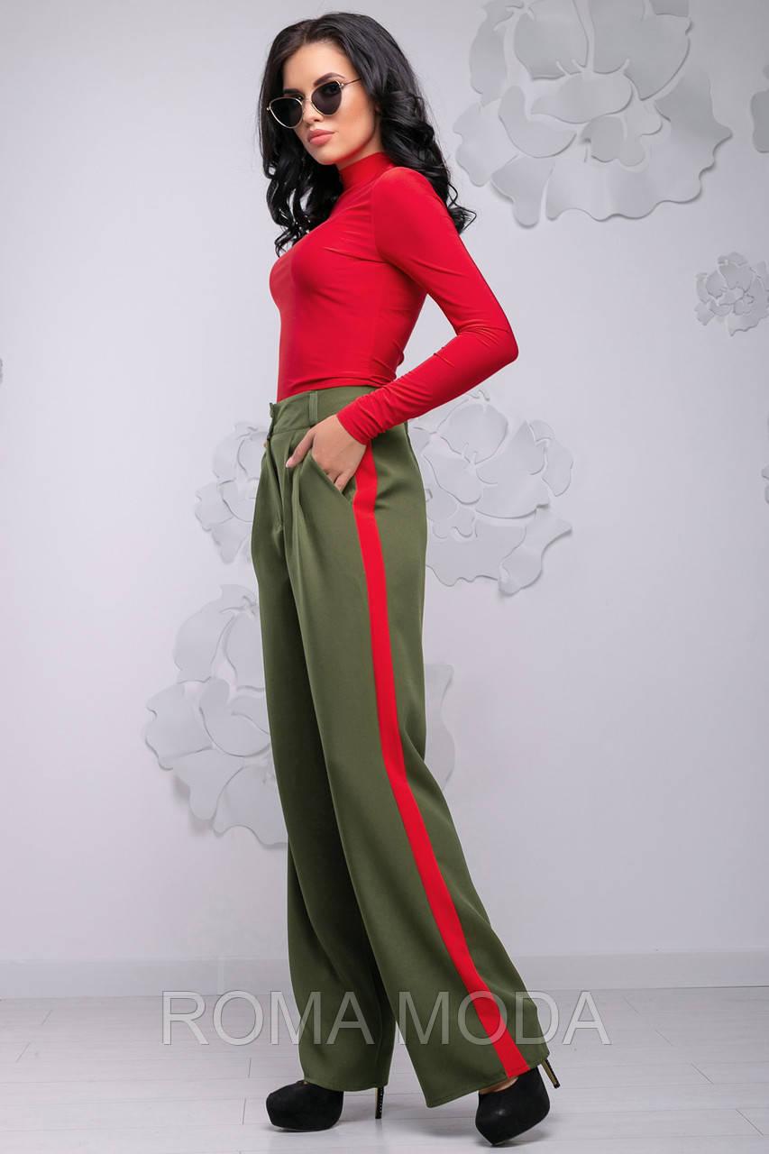 Свободные широкие женские брюки  с лампасами  2745