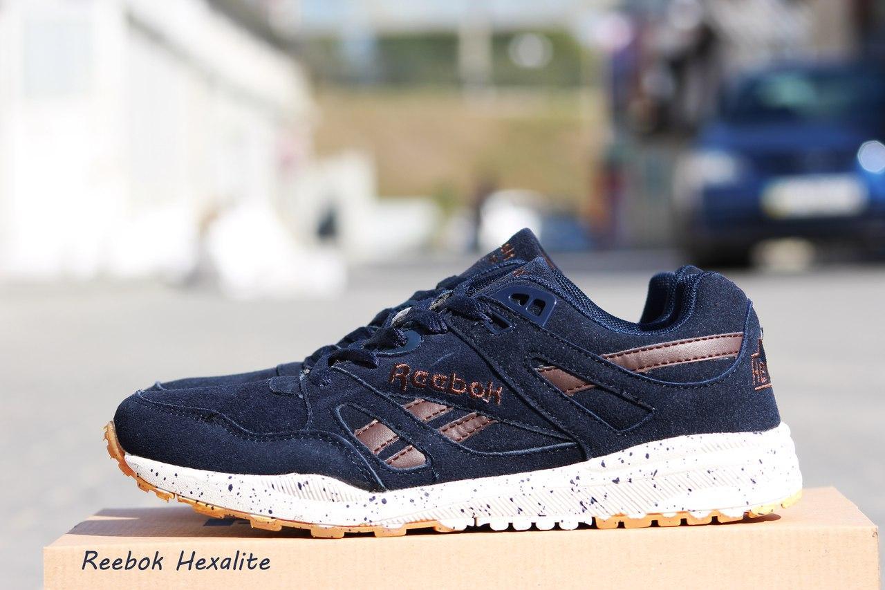 Чоловічі кросівки Reebok Hexalite замшеві, темно синій 41р