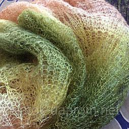 Палантин П-00186, коричневый-болотный-белый, оренбургский шарф (палантин)
