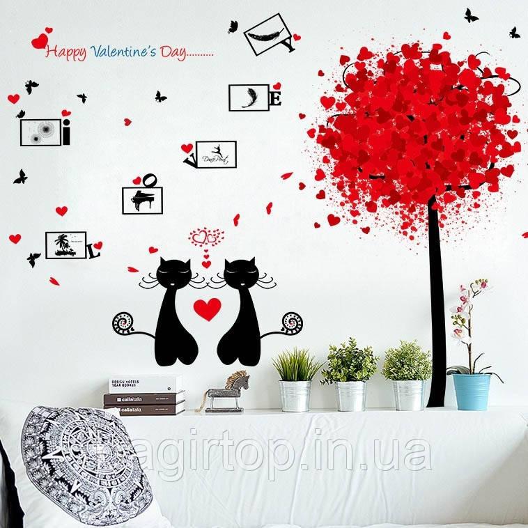 Самоклеющаяся  наклейка  на стену Влюбленные коты  (143х98см)