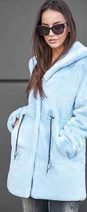 Женская короткая шуба из искусственного меха кролика голубого цвета с капюшоном, фото 2