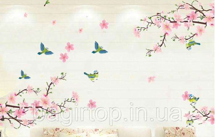 Самоклеюча наклейка на стіну Гілки дерева (133х74см)