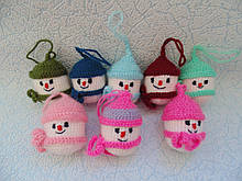 Набір 8 штук Новорічних іграшок ручної роботи на ялинку Сніговик