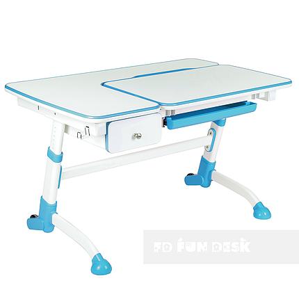 Детская парта для школьника FunDesk Amare Blue с выдвижным ящиком, фото 2