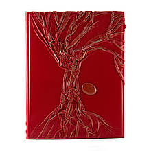 Родословная книга красного цвета инкрустирована яшмой
