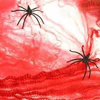 Красная паутина декоративная + 2 паука