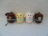 Набор 4 штуки Новогодних игрушек ручной работы на елку Мишка