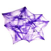 Фиолетовая паутина декоративная + 2 паука