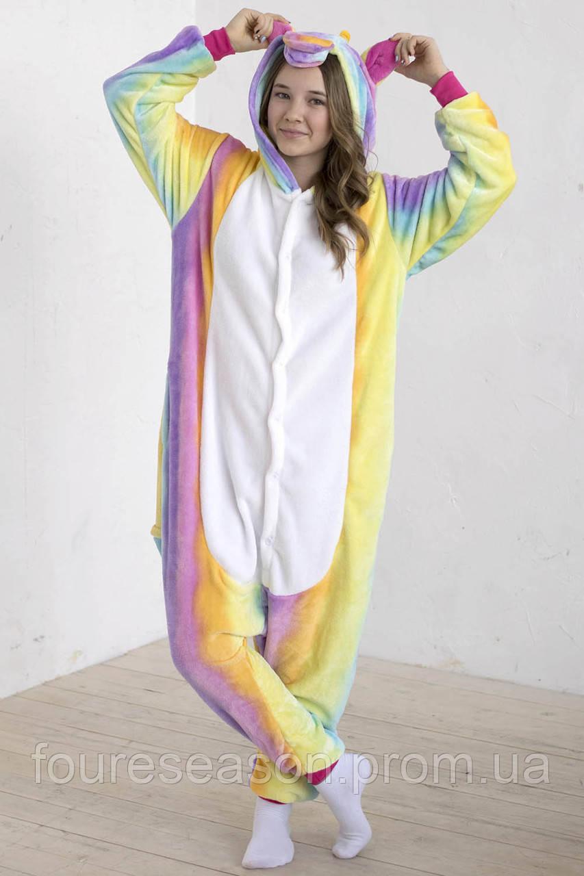 Кигуруми единорог пижама теплая махровая комбинезон - Интернет-магазин