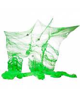 Зеленая паутина декоративная + 2 паука