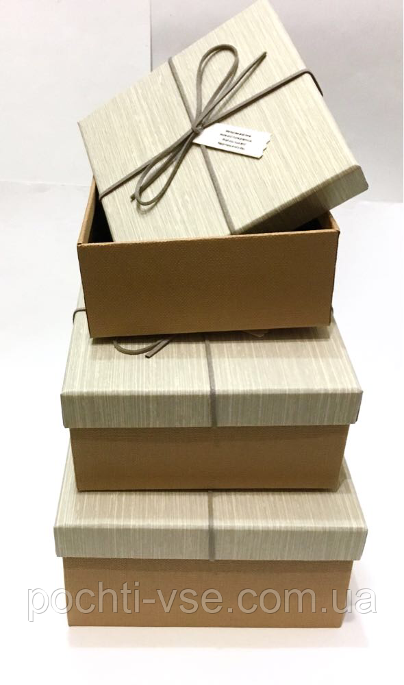 Набор подарочных коробочек квадрат,  большая, комплект 3шт.