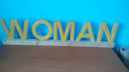 Деревянные таблички, вывески Women, Man для витрин, отделов магазина, фото 2