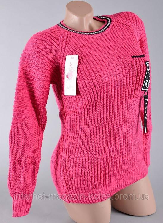 Теплый женский малиновый свитер, фото 2