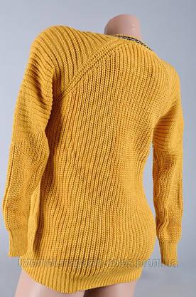 Теплый женский горчичный свитер, фото 3