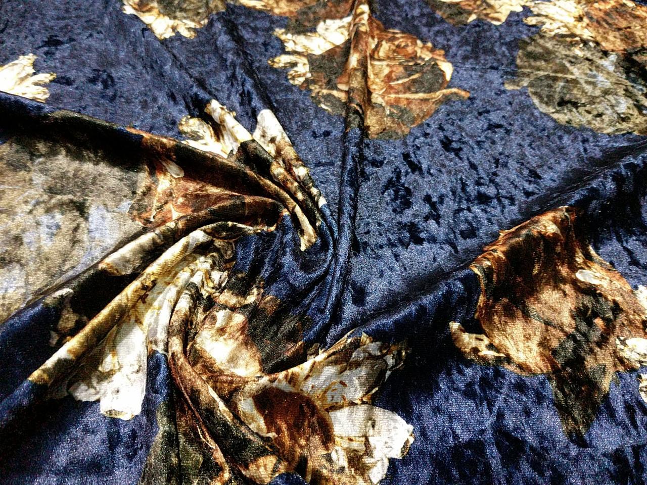 Бархат рисунок осенний букет, темно-синий