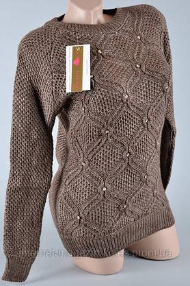 Теплый женский коричневый свитер, фото 3