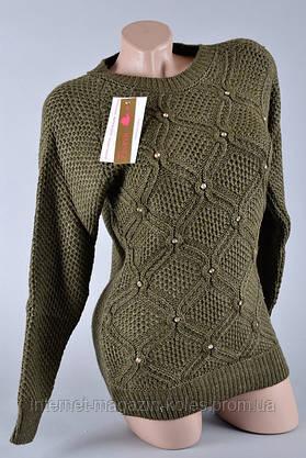 Теплый женский свитер цвета хаки, фото 2