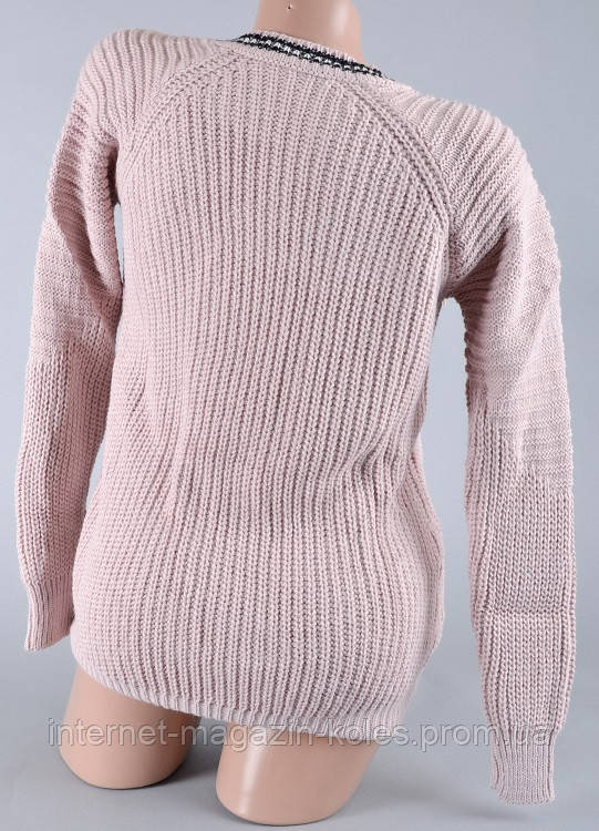 Теплый женский свитер бледно-розового цвета , фото 2