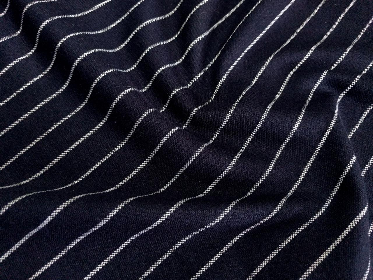 Трикотаж Македония полоска, темно-синий