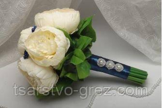 Свадебный букет из искусственных цветов темно-синий
