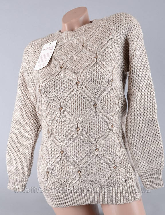 Теплый женский свитер бежевого цвета , фото 2