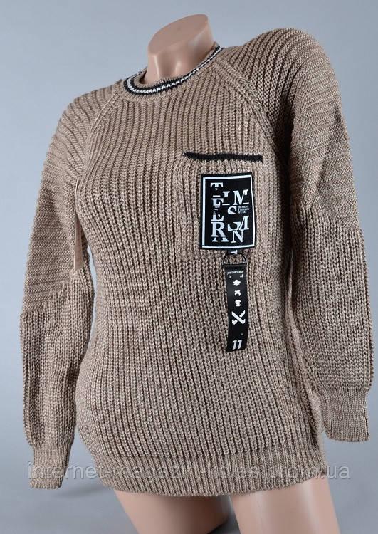 Теплый женский свитер серо-коричневого цвета
