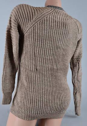 Теплый женский свитер серо-коричневого цвета , фото 3
