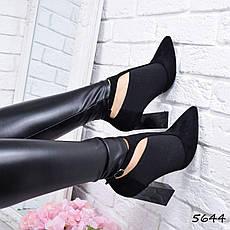"""Ботильоны женские на каблуке, черные """"Croozy"""" , эко замша, повседневная обувь, ботинки женские, фото 2"""