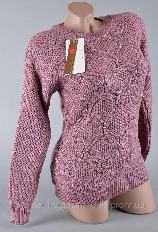 Теплый женский свитер красновато-коричневого цвета