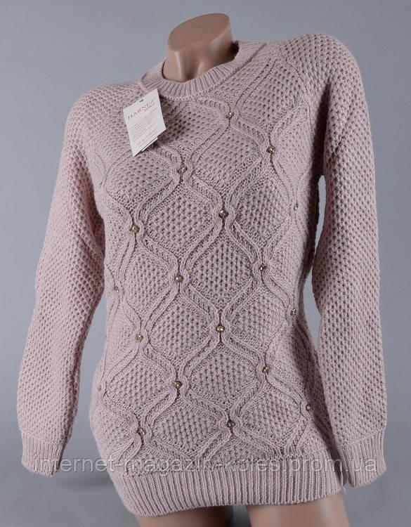 Теплый женский свитер серого цвета